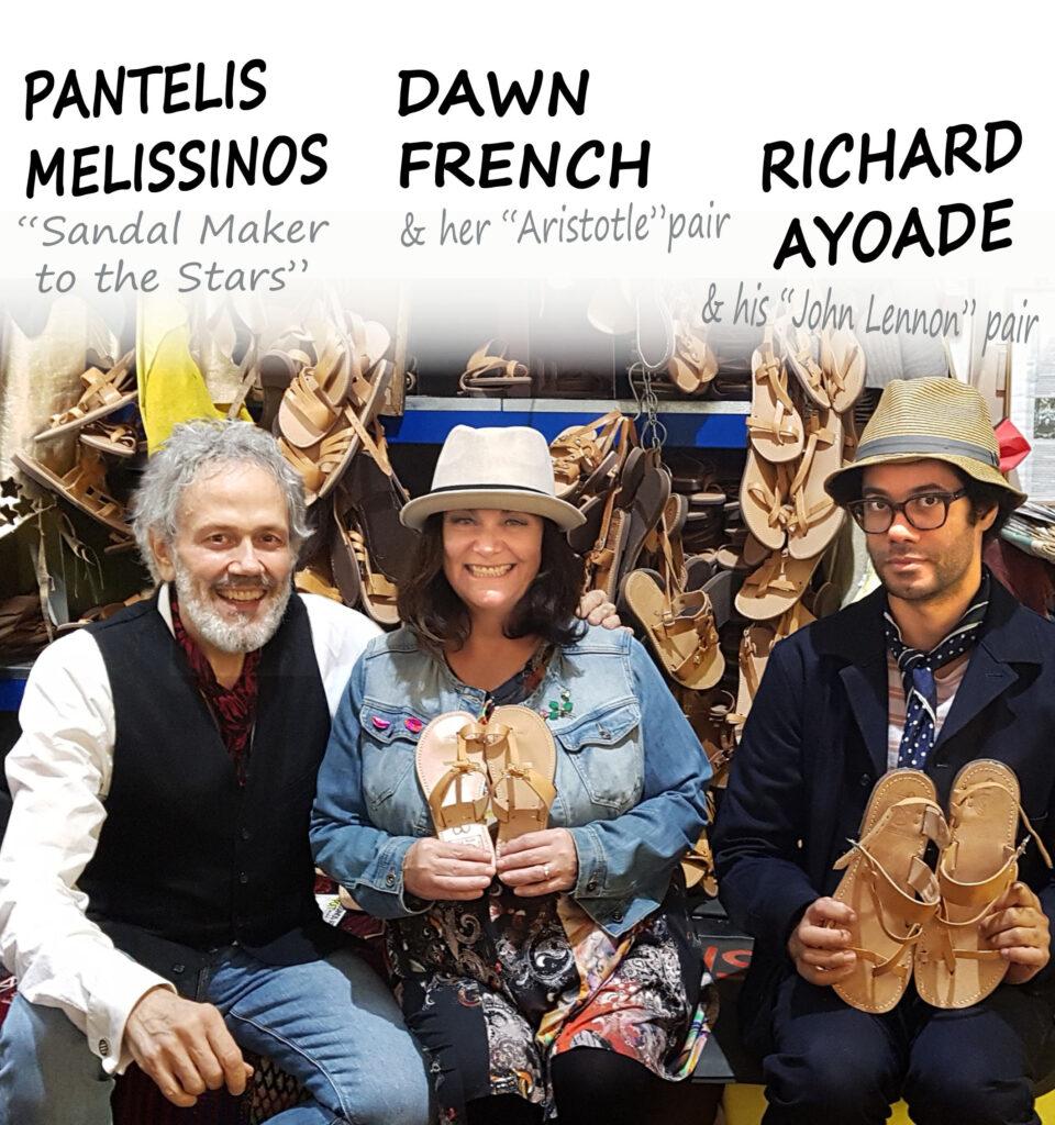 Ο Παντελής Μελισσινός με τους διάσημους Βρετανούς ηθοποιούς Dawn French και Richard Ayoade.
